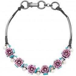 Collana Donna con Cristalli, Perline e Strass Neri e Azzurri - Ottaviani