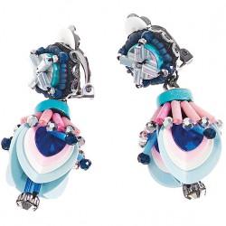 Orecchini Donna con Cristalli, Perline e Strass Azzurri - Ottaviani