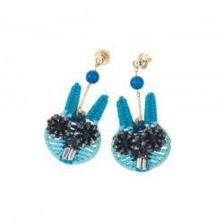 Orecchini Donna con Cristalli,Perline e Rafia Azzurra Coniglietto - Ottaviani