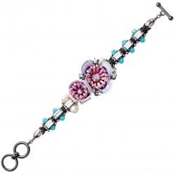 Bracciale Donna Fiori con Cristalli, Perline e Paillettes Rosa e Azzurre - Ottaviani