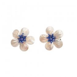 Orecchini  Fiore con cristalli Blu e Madreperla - Ottaviani