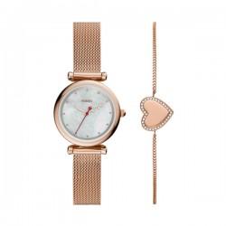 Confezione Regalo Donna: Orologio Carlie Mini Rosè e Bracciale Cuore Rosè - Fossil