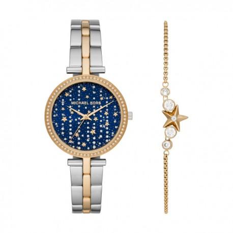 Confezione Regalo Donna: Orologio Maci in Acciaio Bicolor Quadrante Blu con Stelle e Bracciale in Acciaio Dorato - Michael Kors