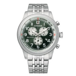 Orologio Uomo Of Collection Aviator Crono Ecodrive Acciaio Quadrante Verde - Citizen