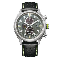 Orologio Uomo Of Collection Sport Crono Ecodrive in Pelle Nera - Citizen