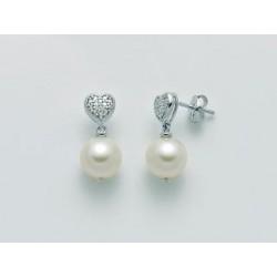 Orecchini Donna in Oro Bianco Perla 8-8,5 con Cuore di Brillanti - Yukiko