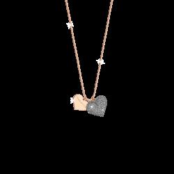 Collana Donna Jolie in Argento Rosè con Cuore in Polvere di Diamanti - Rebecca