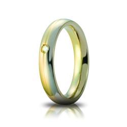 Fede Eclissi Oro Bicolore 4mm con Brillante - Unoaerre