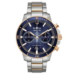 Orologio Uomo Marine Star in Acciaio  Quadrante Blu Dettagli Rosè Cronografo - Bulova
