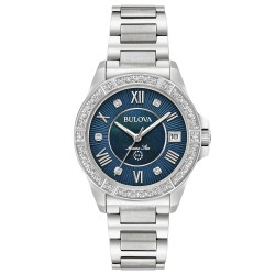 Orologio Donna Marine Star in Acciaio Quadrante Blu con Diamanti - Bulova