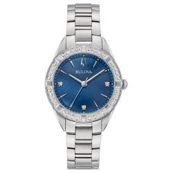 Orologio Donna Solo Tempo in Acciaio con Diamanti Quadrante Blu- Bulova