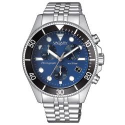 Orologio Uomo Cronografo in Acciaio con Quadrante Blu - Vagary