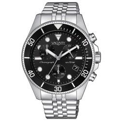Orologio Uomo Cronografo in Acciaio con Quadrante Nero - Vagary