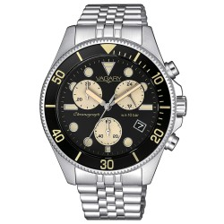 Orologio Uomo Cronografo in Acciaio con Quadrante Nero Dettagli Dorati - Vagary