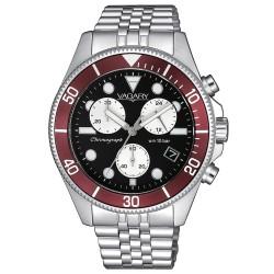 Orologio Uomo Cronografo in Acciaio con Quadrante Nero Ghiera Rossa - Vagary