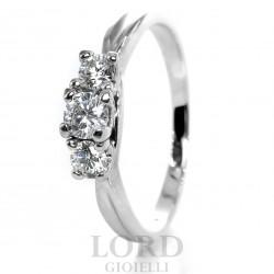 Anello Donna in Oro Bianco Trilogy di Brillanti ct. 0.10+0.20+0.10 - Lord Gioielli
