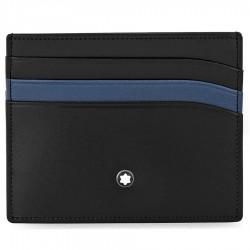 Porta Carte di Credito 6 Scomparti in Pelle Nera con Tasca Blu - Montblanc
