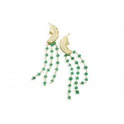 Orecchini Donna Suma Pendenti con Foglia in Argento Dorato e Zirconi e Cristalli Verdi - Misis