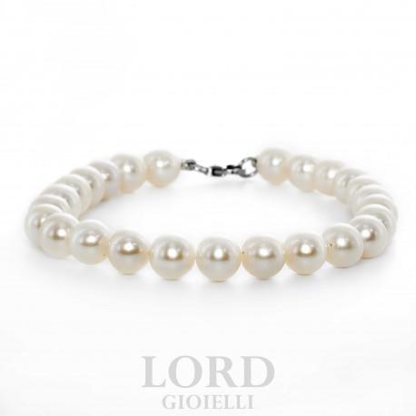Bracciale Donna in Oro Bianco con Perle 6mm - Bibigi