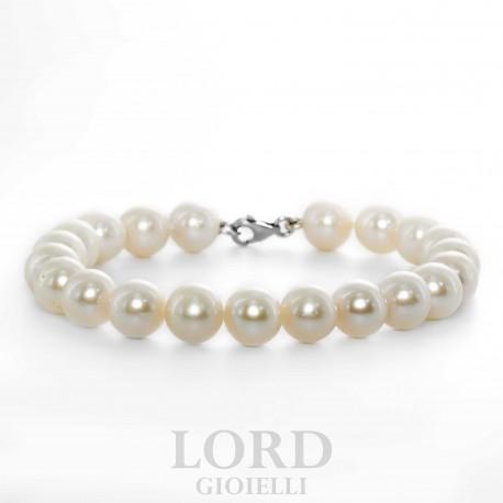Bracciale Donna in Oro Bianco con Perle 8mm - Bibigi