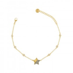 """Bracciale Castoni """"Stardust Tales"""" Stella con Zirconi Galvanica Oro - Rue des Mille"""