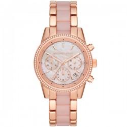 Orologio Donna Ritz Cronografo in Acciaio Rosè e Ceramica Rosa - Micheal Kors