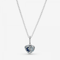 Collana Donna Cuore Luna e Stelle Blu Scintillanti - Pandora