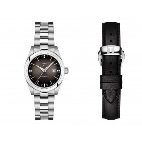 Orologio Donna Automatico in Acciaio con Quadrante Nero e Cinturinio Pelle Nera - Tissot