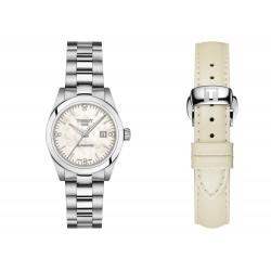 Orologio Donna Automatico in Acciaio con Diamanti Doppio Cinturino in Pelle Bianca - Tissot