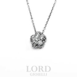 Collana Donna Punto Luce Fiore in Oro Bianco con Diamanti - Leo Pizzo