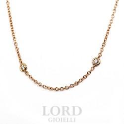 Collana Donna in Oro Rosa con Brillanti ct. 0.33 - Leo Pizzo