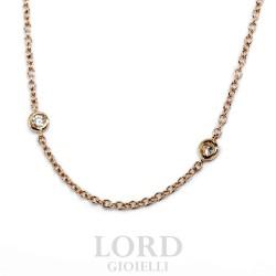Collana Donna in Oro Rosa con Brillanti - Leo Pizzo