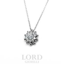 Collana Donna Punto Luce Fiore di Diamanti in Oro Bianco - Leo Pizzo