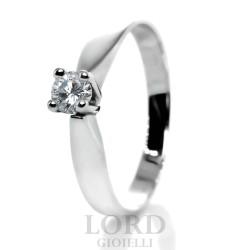 Anello Donna in Oro Bianco Solitario con Brillante - Lord Gioielli