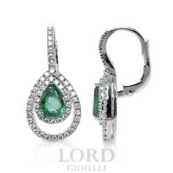 Orecchini Donna Pendenti in Oro Bianco Goccia di Smeraldo e Brillanti - Mirco Visconti