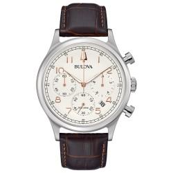 Orologio Uomo Classic Cronografo in Pelle Marrone - Bulova