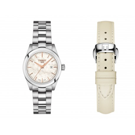 Orologio Donna Acciaio Quadrante Madreperla con Doppio Cinturino Bianco - Tissot