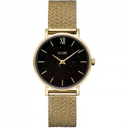 Orologio Donna Minuit Special Mesh Gold and Black Leather -  Cluse
