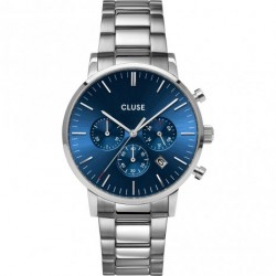 Orologio Uomo Aravis Chrono in Acciaio Quadrante Blu - Cluse