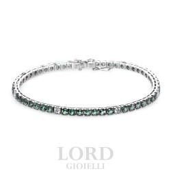 Bracciale Tennis in Oro Bianco con Diamanti e Smeraldi - Davite & Delucchi