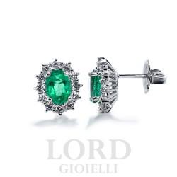 Orecchini Donna in Oro Bianco con Smeraldi e Brillanti - Mirco Visconti