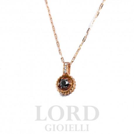 Collana Uomo Punto Luce in Oro Rosa con Diamante Nero - Nardelli