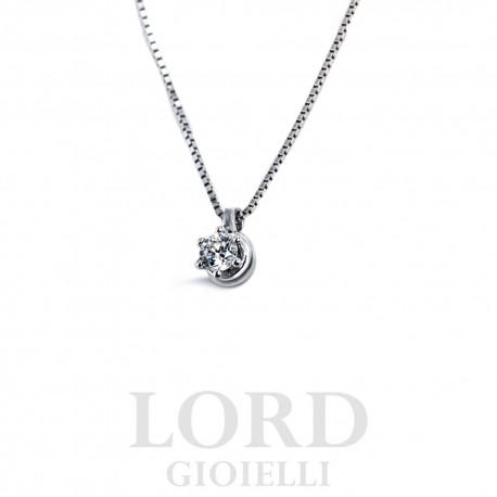 Collana Punto Luce in Oro Bianco con Diamante - Nardelli