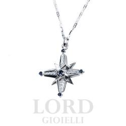 Collana Uomo in Oro Bianco Rosa dei venti con Diamanti e Zaffiri - Nardelli