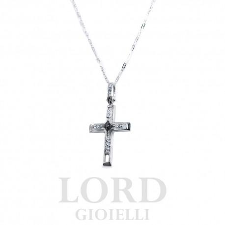 Collana in Oro Bianco con Croce con Diamanti Bianchi e Neri - Elli's