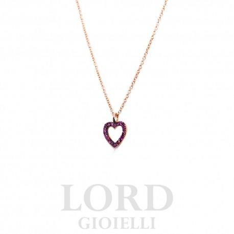 Collana Donna in Oro Rosa  Cuore con Rubini - Elli's