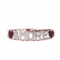 Bracciale Donna Rigido in Oro Rosa AMORE con Diamanti e Cuori di Rubino - Nardelli