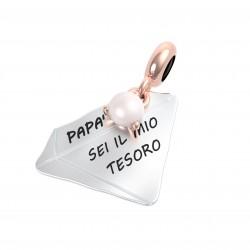 """Charm Famiglia """"Papà sei il Mio tesoro"""" con Perla - Rerum Gioielli"""