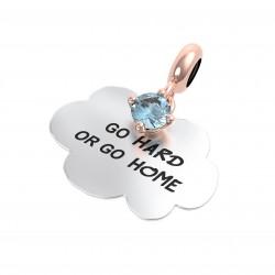 """Charm Propositi """"Go Hard or Go Home"""" con Topazio Azzurro - Rerum Gioielli"""