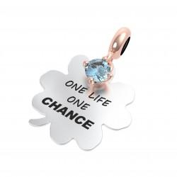 """Charm Propositi """"One Life One Chance"""" con Topazio Azzurro - Rerum Gioielli"""